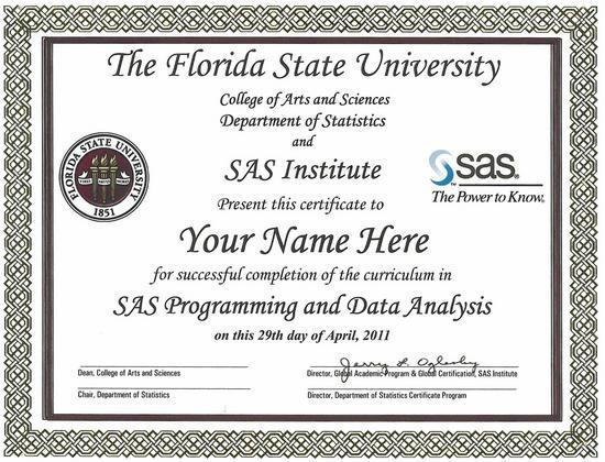 sas certificate department of statistics
